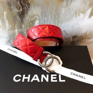 Chanel Red Quilted Leather CC Belt sz 80